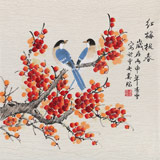 北京美协凌雪三尺斗方《红梅报春》