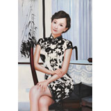 著名青年油画家朱艺林 布面油画 《盈盈粉妆》