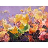 【已售】郭莹 《金色的荷塘》北京著名女油画家