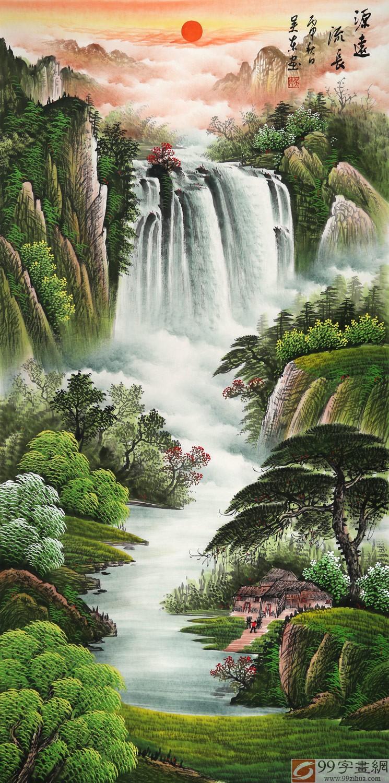 壁纸 风景 国画 旅游 瀑布 山水 桌面 745_1500 竖版 竖屏 手机