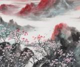 著名山水画家王连笙 四尺《雨后香雪谷》
