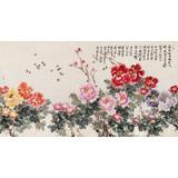 曲逸之 六尺《花开富贵》 中国美术学院著名花鸟画家