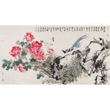 【已售】曲逸之 六尺《万叶红绡剪尽春》 中国美术学院著名花鸟画家