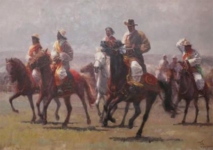 王海鹏 《马背上的民族》布面油画