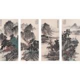 贵州七星关美协主席吴显刚 四条屏《春游图》