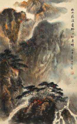 何实 四尺三开《秋水潺湲处 群山红透时》吉林著名19461188伟德家