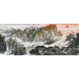 【已售】中国书画家协会理事李碧峰 小八尺《泰山旭日》