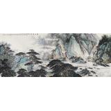 【已售】中国书画家协会理事李碧峰 小八尺《春江放筏》