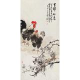 著名画家王向阳四尺雄鸡国画《吉祥如意》(询价)