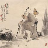 郭廷 四尺斗方《福寿延年》 当代独具特色的水墨人物名家(询价)