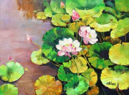 【已售】郭莹 《荷韵幽香》北京著名女油画家
