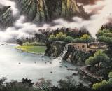 【已售】张慧仁六尺聚宝盆最新博彩大全《春山观瀑图》