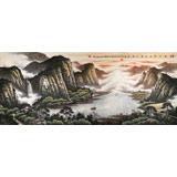 【已售】张慧仁小八尺聚宝盆山水画《日出山涧里 水远江河流》
