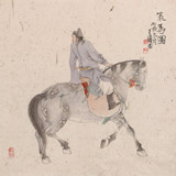 【已售】曹建涛 四尺斗方《策马图》