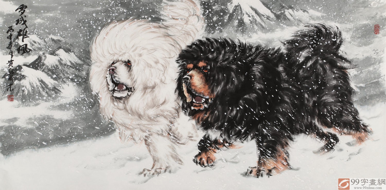 王贵邱 四尺《雪域雄风》 当代著名藏獒画家 - 动物画