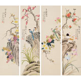【已售】凌雪 四条屏《繁荣和平》 北京美协会员