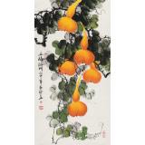 【已售】黄艺三尺吉利国画《五福临门》