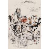 杨西沐 四尺三开《亲情》 中国美术家协会会员