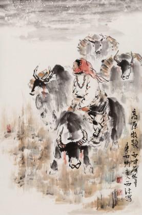 杨西沐 四尺三开《高原牧歌》 东方书画院名誉院长