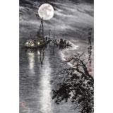 申凌翔 四尺三开《洲头望月》 广西山水画名家