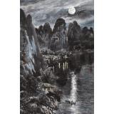 申凌翔 四尺三开《月照渔舟》 广西山水画名家