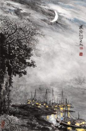 申凌翔 四尺三开《夜泊》 广西山水画名家