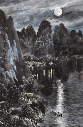 申凌翔 四尺三开《月照渔舟》 广西最新博彩大全名家