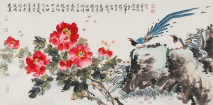 曲逸之 四尺《花开富贵》 著名花鸟画家
