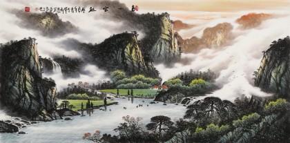 张慧仁 四尺《春山云起》 广西山水画家协会常务理事