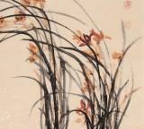 名家李明成大四尺国画《兰花图》