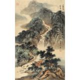 【已售】何实 四尺三开《山雨急洗琅玕节》当代著名青绿山水画家