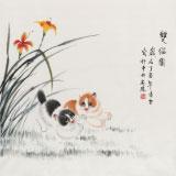 凌雪 四尺斗方《双猫图》 北京美协会员