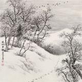 国家画院刘金河四尺斗方作品《寒林雪韵》