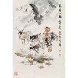 【已售】杨西沐 四尺三开《牧童小趣》 东方书画院名誉院长