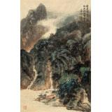 何实 四尺三开《登高处一览江山》 吉林著名山水画家