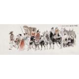 【已售】杨西沐 小六尺《长安出行图》 东方书画院名誉院长