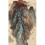 何实 四尺三开《峡江帆影》 吉林著名山水画家