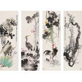 王宝钦 四条屏《清香》 当代花鸟牡丹画名家(询价)