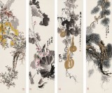 王宝钦 四条屏《清香久远》 当代花鸟牡丹画名家(询价)