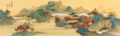 【已售】何实 1.5米《秋山访胜》吉林著名山水画家