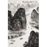申凌翔 四尺三开《漓江清韵图》 广西山水画名家