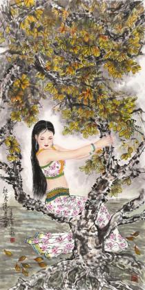 南海禅寺 妙林居士 四尺《秋叶隐美图》