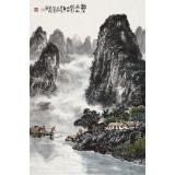 【已售】申凌翔 四尺三开《漓江山水》 广西山水画名家