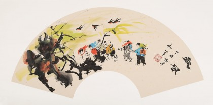 尹和平 扇面《春风》 当代乡土童趣绘画名家