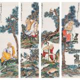 【已售】南海禅寺 妙林居士 四条屏《罗汉图》