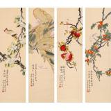 凌雪 四条屏《四时花鸟》 北京美协会员