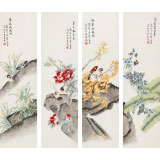 凌雪 四条屏《四季花鸟》 北京美协会员