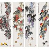 刘纪 四条屏《秋实图》 河南著名老画家