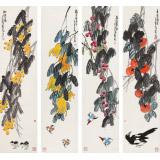 刘纪 四条屏《喜逢盛世》 河南著名老画家