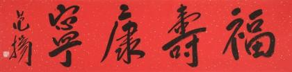 范扬 四尺对开《福寿康宁》 有合影
